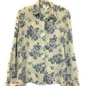 Talbots Pure Silk Blouse Long Sleeve Floral 10